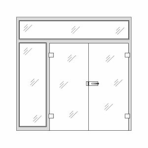 Clear Glass Doors - Double glass doors with side and top panels