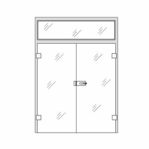 Clear Glass Doors - Double glass doors with sides and top glass panels