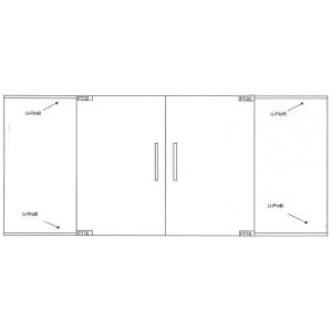 Clear glass doors - Double swing glass doors with two side panels