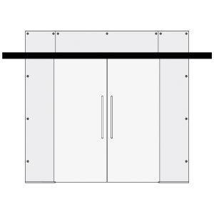 Clear glass doors - Double Sliding Door with Top and 2 Side Panels