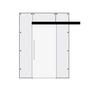 Clear Glass doors - Glass single sliding door with top and side panels