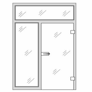 Clear glass doors - Single glass door with top and side panels