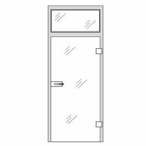 Clear glass doors - Single glass door with top glass panel